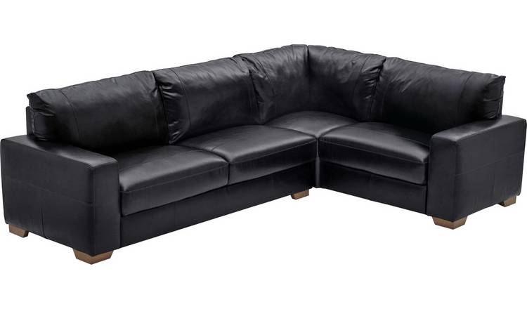 Buy Argos Home Eton Right Corner Leather Sofa - Black | Sofas | Argos