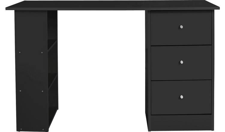 new style 4516c 6804b Buy Argos Home Malibu 3 Drawer Office Desk - Black   null   Argos