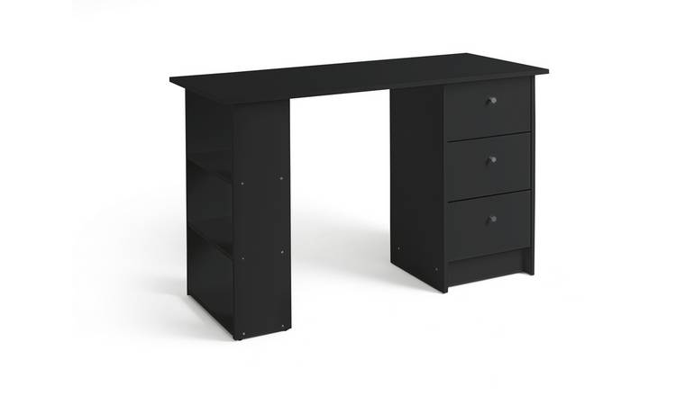 Habitat Malibu 3 Drawer Office Desk - Black