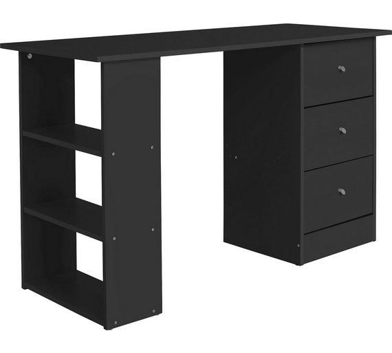 Buy HOME New Malibu 3 Drawer Desk - Black at Argos.co.uk - Your ...