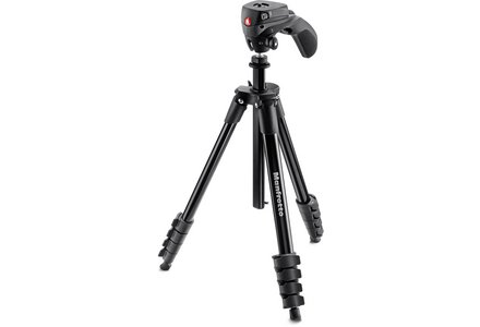 Cut out image of a Manfrotto camera tripod in black.