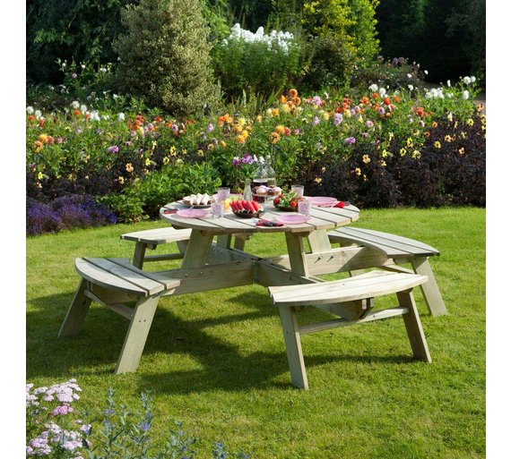 Buy rowlinson wooden round picnic table garden tables argos rowlinson wooden round picnic table watchthetrailerfo