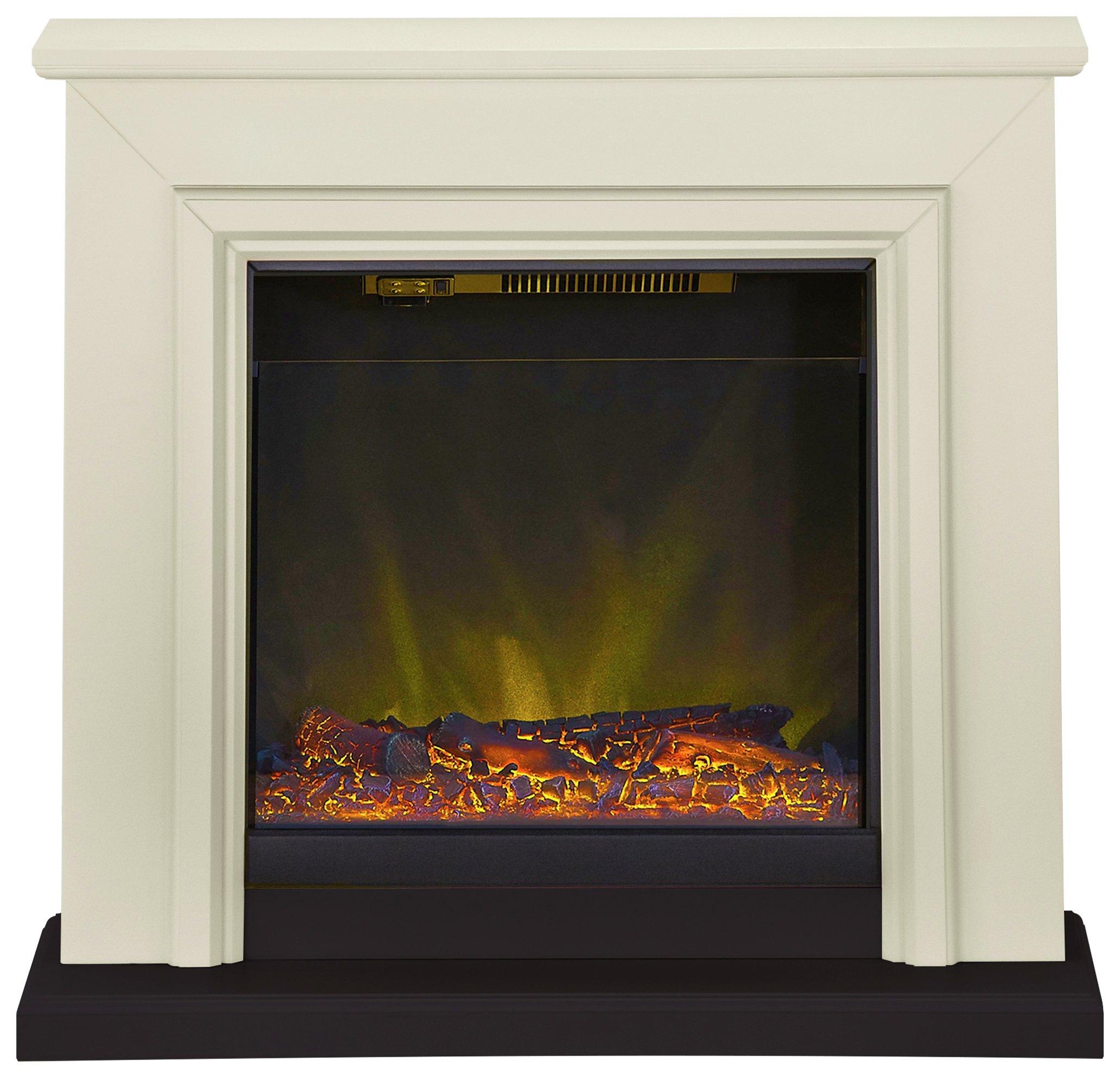Adam Kensington 2kw Electric Fireplace Suite Stone Black