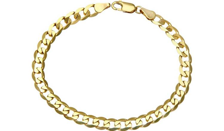9ct Gold 7.25 inch Curb Bracelet.