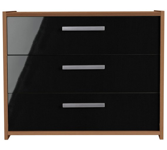 Buy HOME New Sywell Drawer Chest Walnut Effect Black Gloss - Black gloss chest of drawers