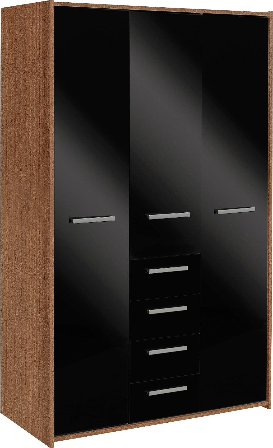 New Sywell 3 Door 4 Drawer Wardrobe (Walnut Effect & Black)