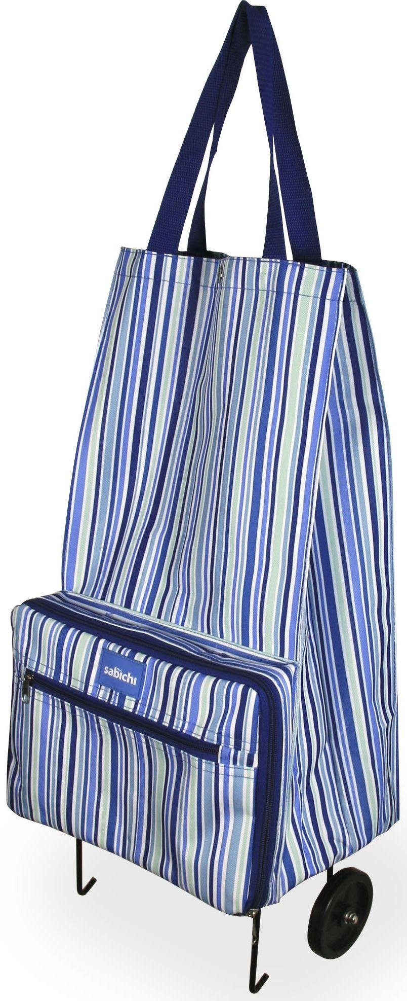 Image of Sabichi - Blue Stripe Shopping Bag with Wheels