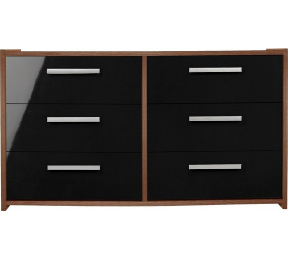 Buy HOME New Sywell Drawer Chest Walnut EffectBlack Gloss - Black gloss chest of drawers