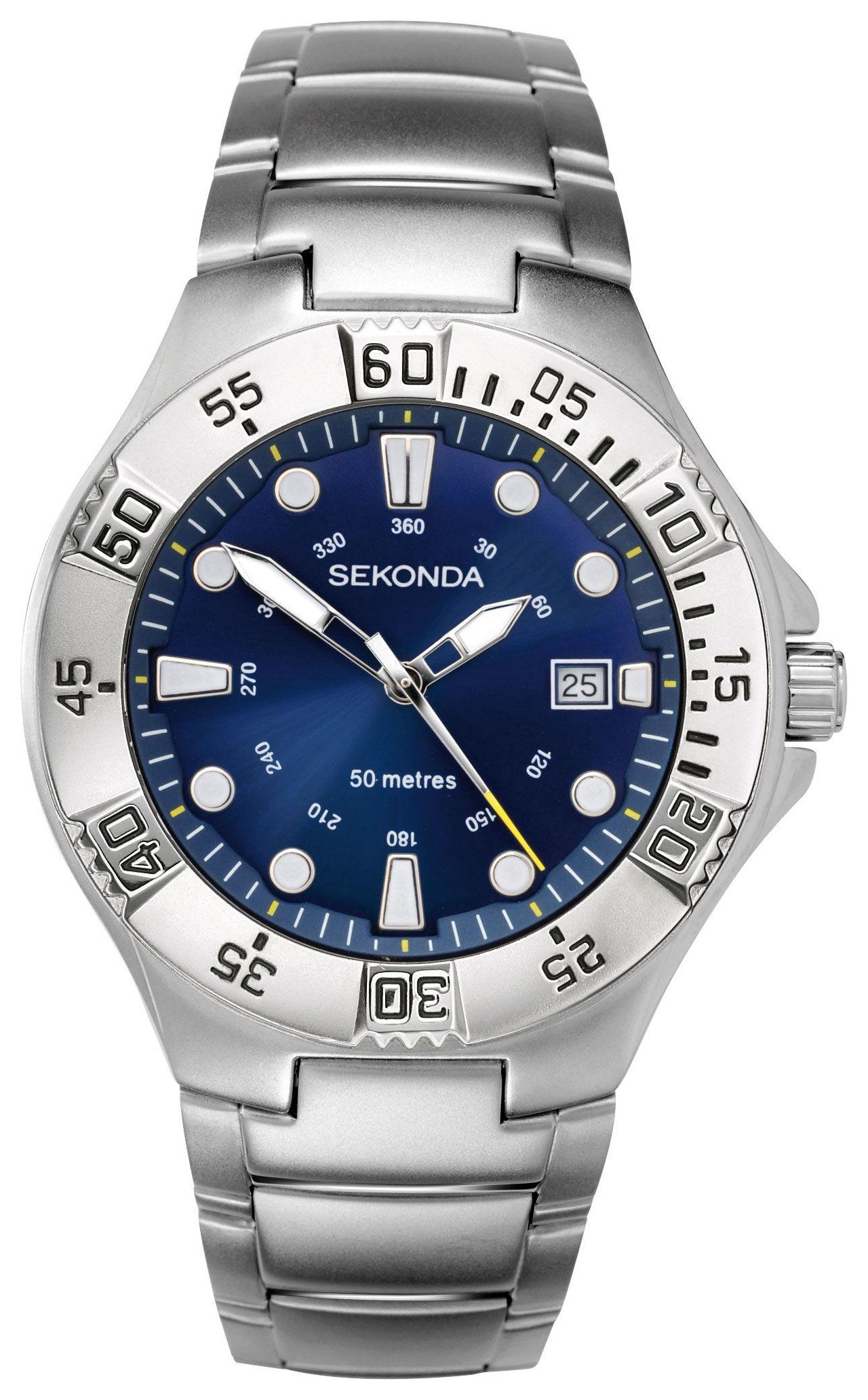 Sekonda Men's Chrome Stainless Steel Bracelet Watch
