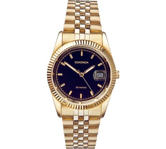 buy sekonda men s black dial bracelet watch at argos co uk your loading