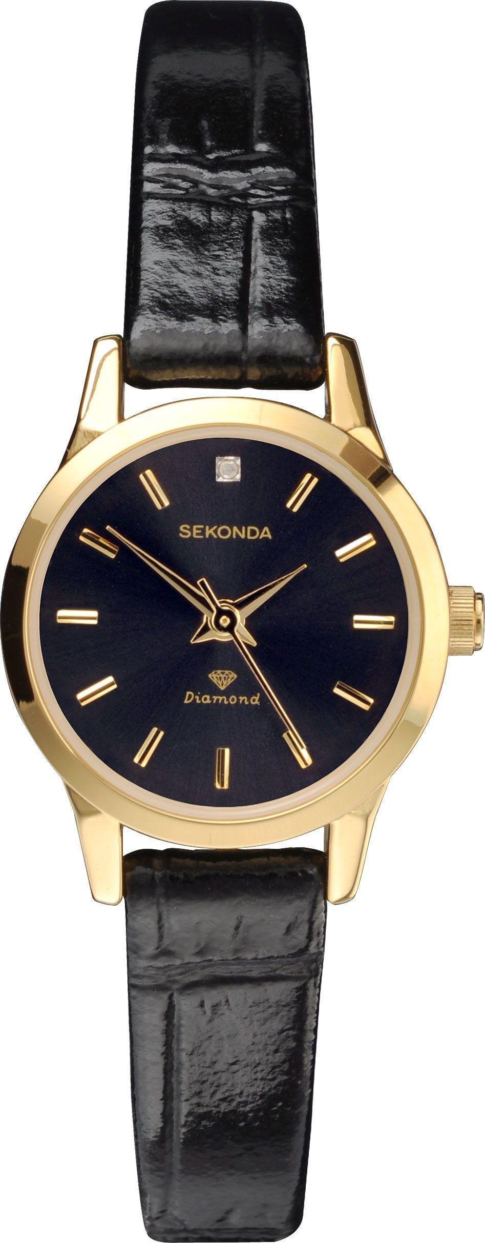Sekonda Ladies Diamond Black Strap Watch
