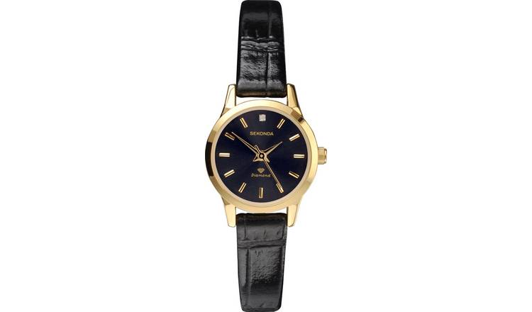 Sekonda Ladies Diamond Black Strap Watch