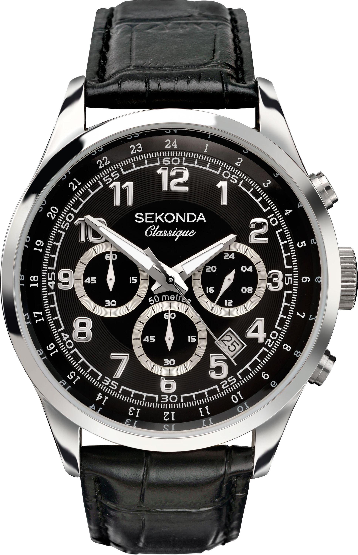 Sekonda Classique Men's Black Leather Strap Watch