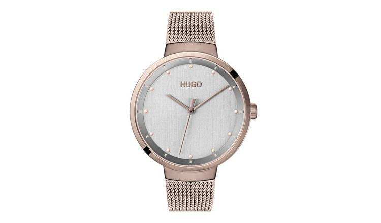 HUGO Ladies Gold Plated Mesh Bracelet Watch