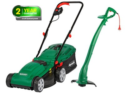 Image of the Qualcast Corded Rotary Mower 1300W and Grass Trimmer 320W.