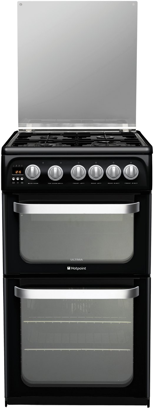 Hotpoint Ultima HUG52K Double Gas Cooker - Black