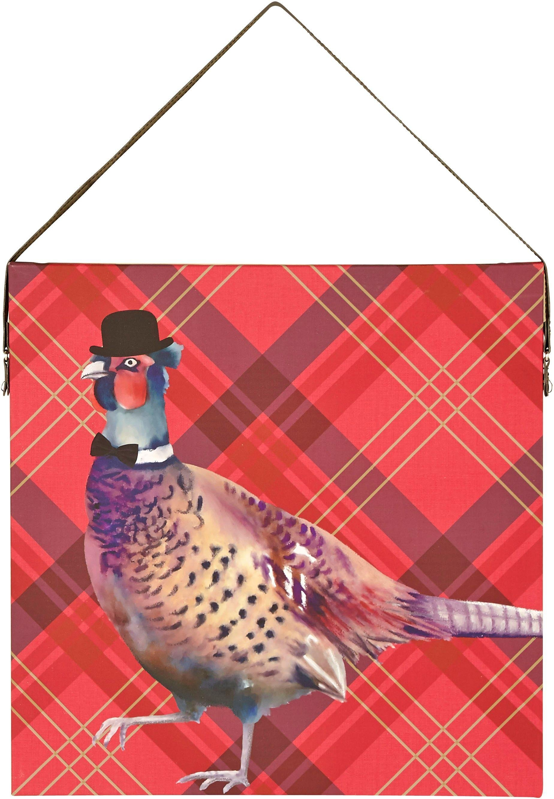 arthouse-tartan-pheasant-canvas-red