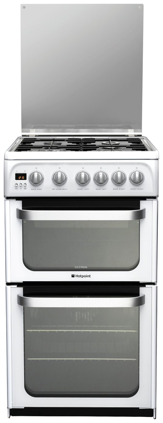Hotpoint Ultima HUG52P Double Gas Cooker - White