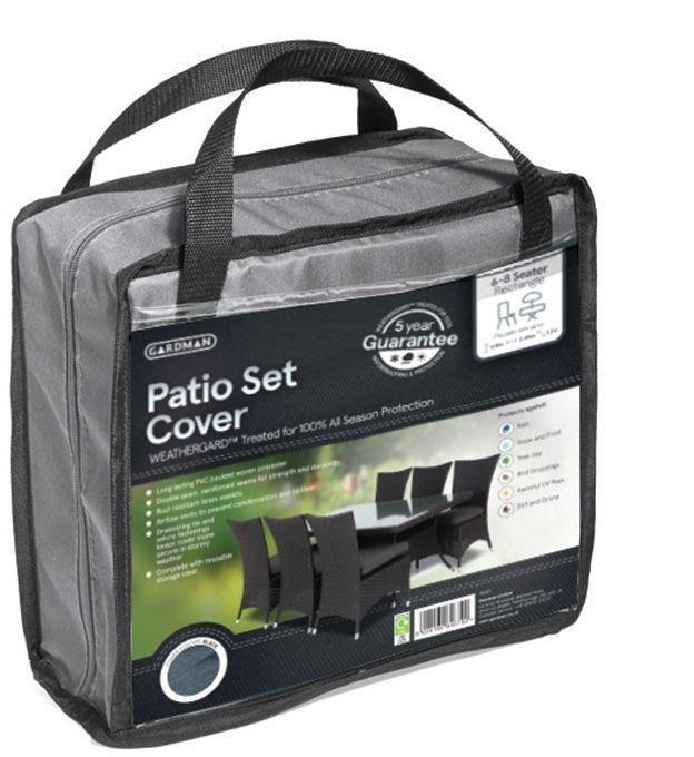 Gardman - 6-8 Seater Rectangle Patio Cover Set - Black