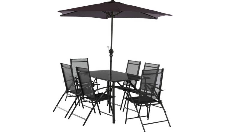Buy Argos Home Milan 6 Seater Metal Patio Set Black Garden Table