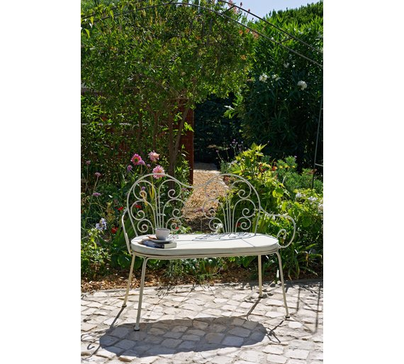 Buy Heart Of House Jasmin 4ft Metal Garden Bench with Cushion at  Argos co uk   Your Online Shop for Garden furniture  Clearance Home and  garden. Buy Heart Of House Jasmin 4ft Metal Garden Bench with Cushion at