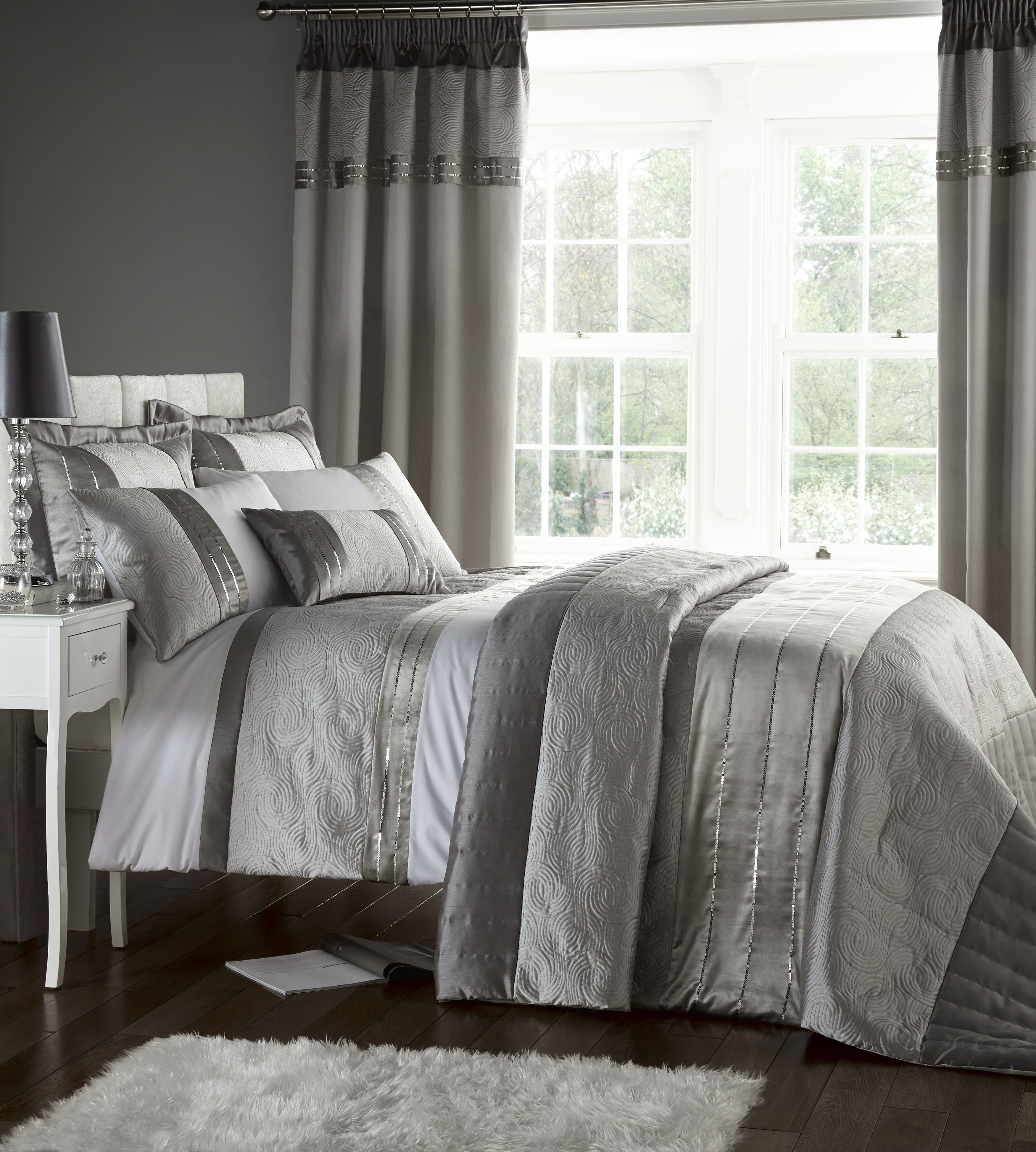 catherine lansfield gatsby bedspread  silver.