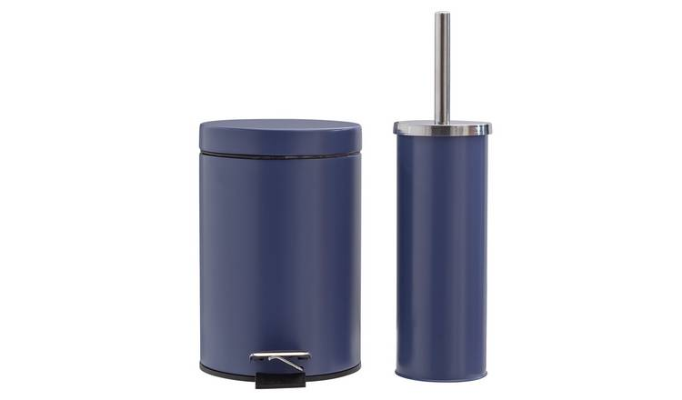 Argos Home Slow Close Bin and Toilet Brush Set - Navy