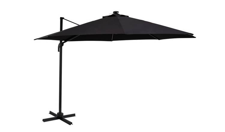 Argos Home Light up LED Overhanging Parasol - Black