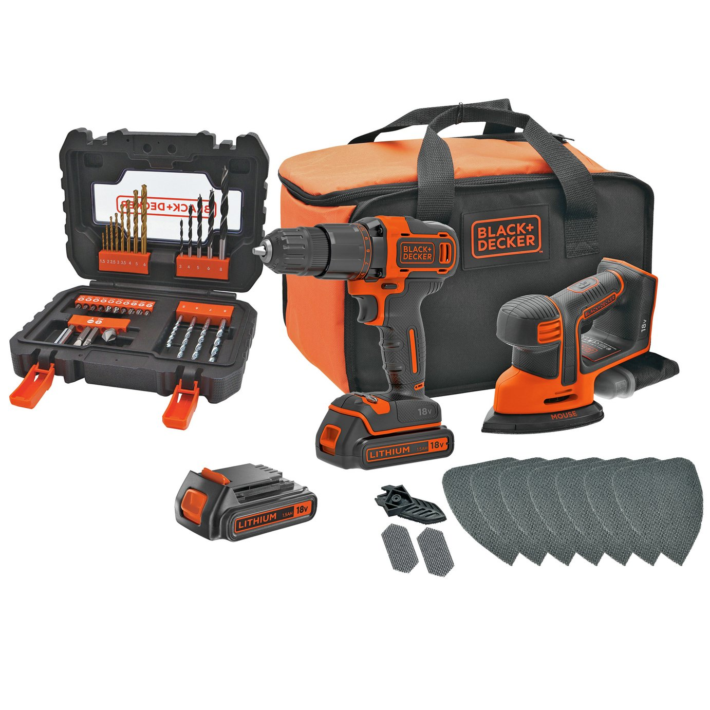 Black  Decker Cordless Hammer Drill  Mouse with Batteries