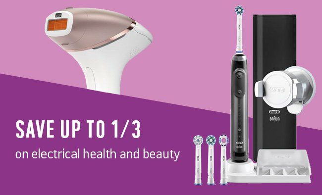 Save up to 1/3 on electrical health and beauty.