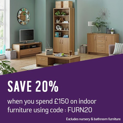 Save 20% when you spend £150 on indoor furniture using code: FURN20.