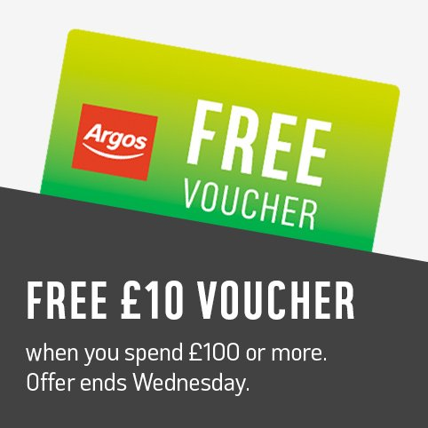 Get a free £5 voucher when you spend £50 or more and a free £10 voucher when you spend £100 or more. Offer ends Wednesday.