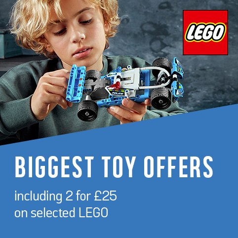 Biggest toy offers including 2 for £25 on selected LEGO.
