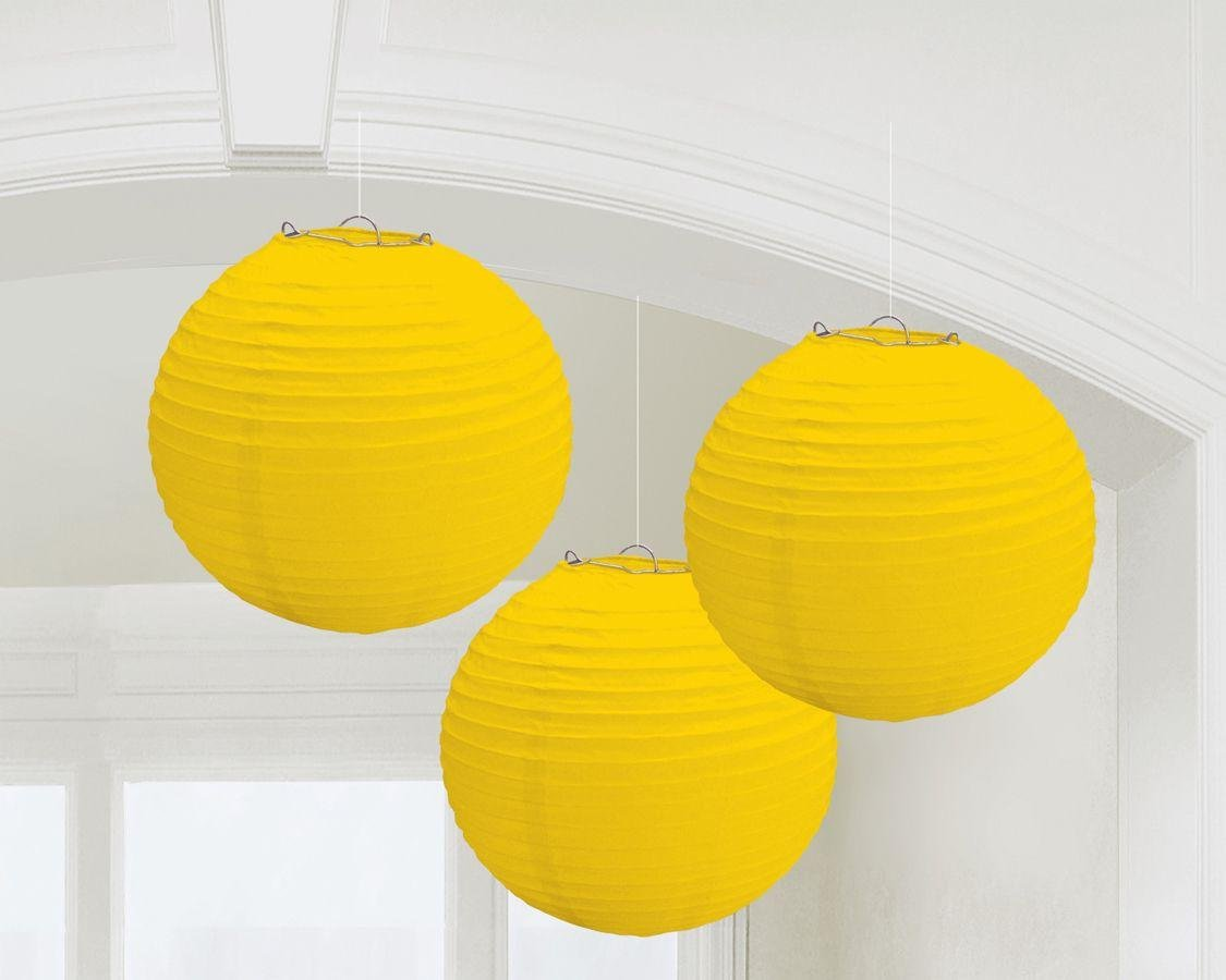Image of Paper Decorative - Pack of 3 - Lanterns Decorations - Yellow