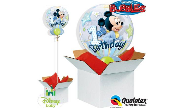 Disney Mickey Mouse 1st Birthday Bubble Balloon in a Box
