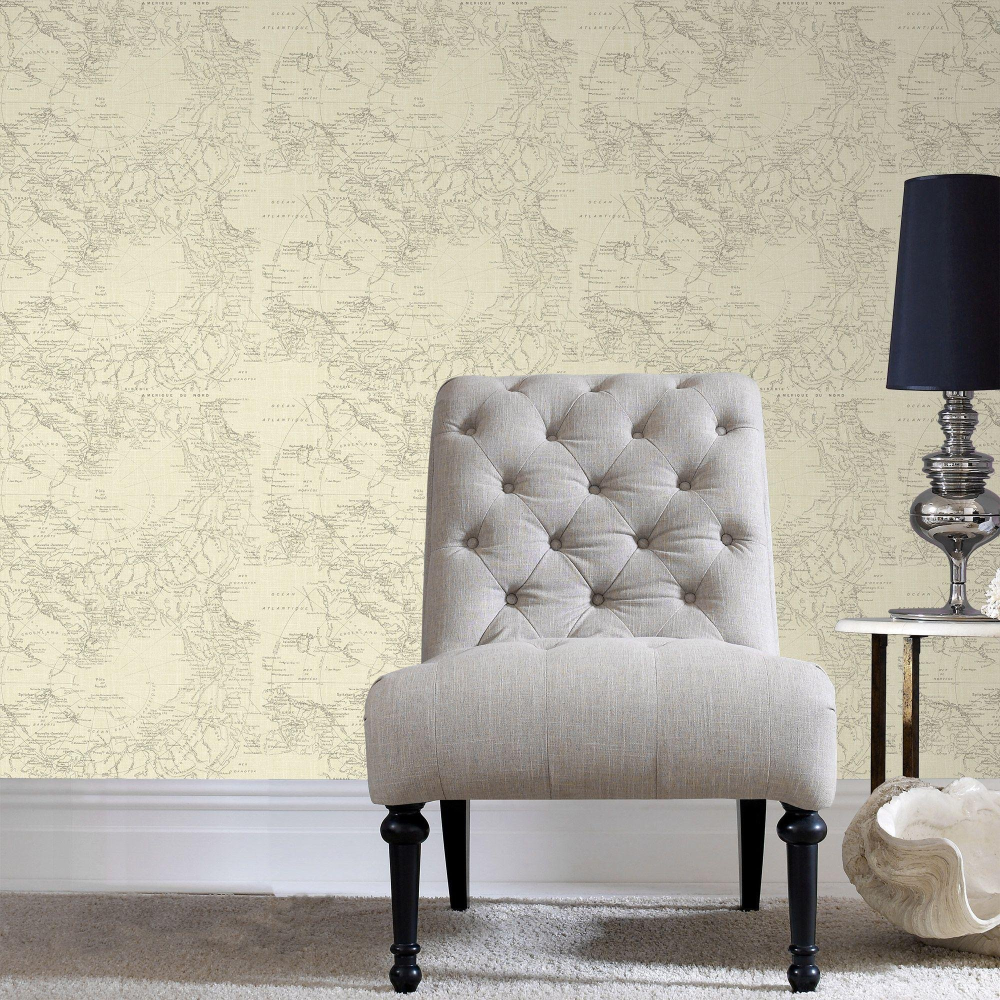 fresco wallpaper  map cream.