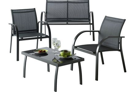 Image of the HOME Milan 4 Seater Metal Sofa Set.