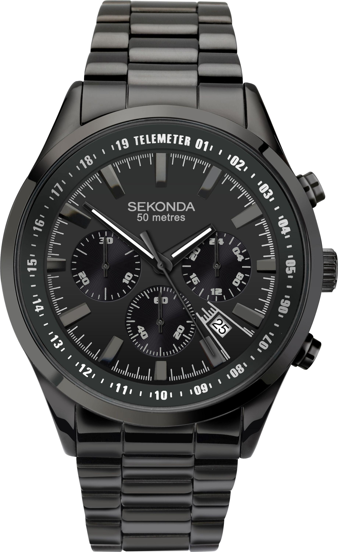 Sekonda Men's Black Steel Bracelet Chronograph Watch