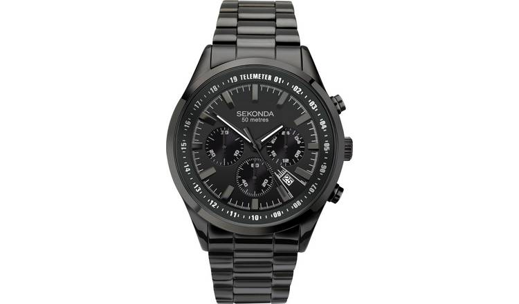 4892a5669b Buy Sekonda Men's Black Steel Bracelet Chronograph Watch | Men's ...