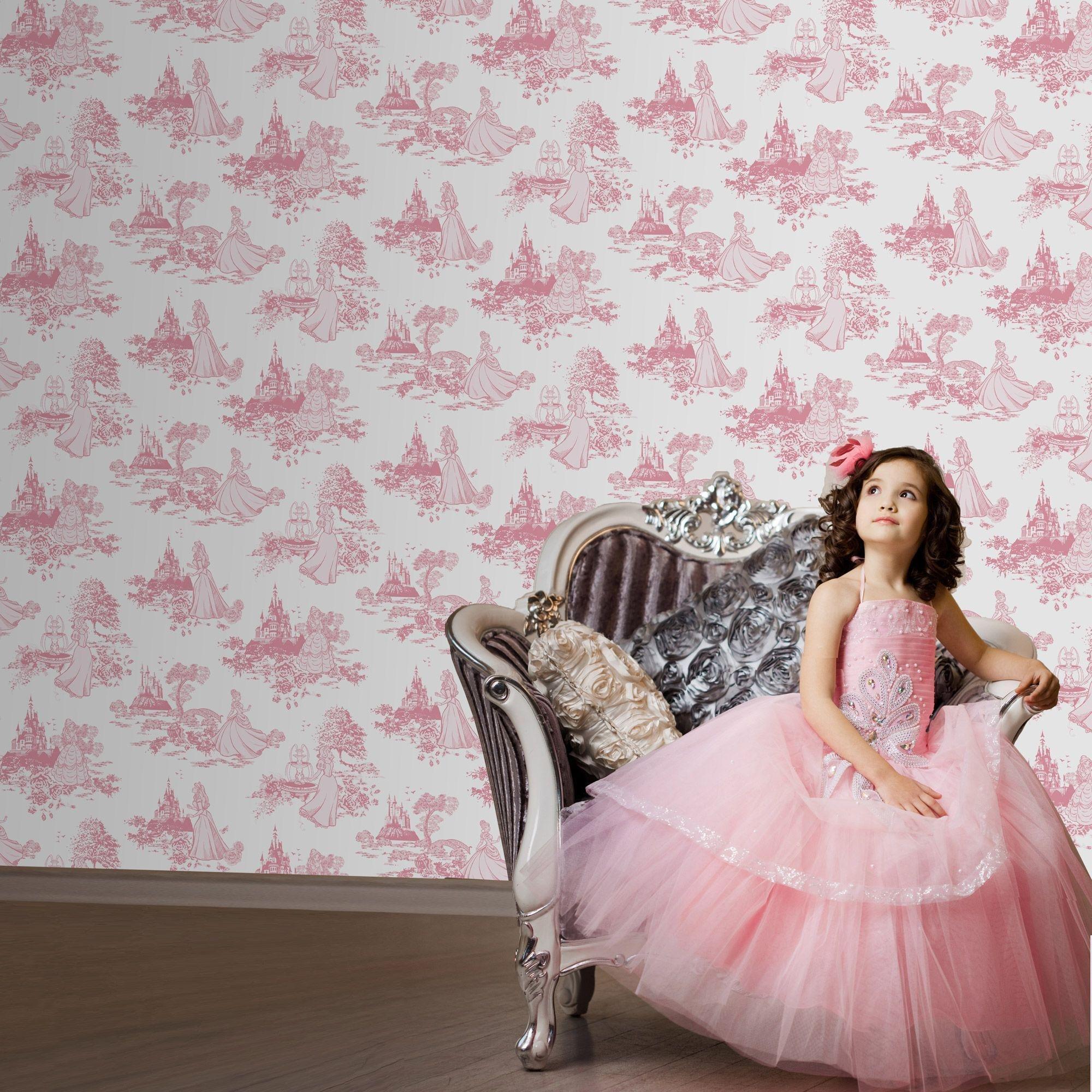 disney princess toile wallpaper sample  pink.