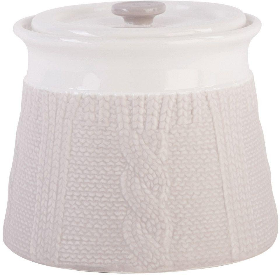 Image of Chunky Knit Design - Biscuit Jar - Pebble