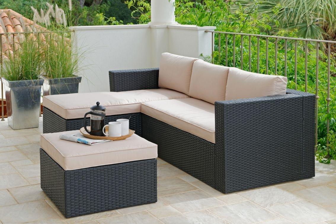 Rattan Effect 3 Seater Mini Corner Sofa Black295 2266