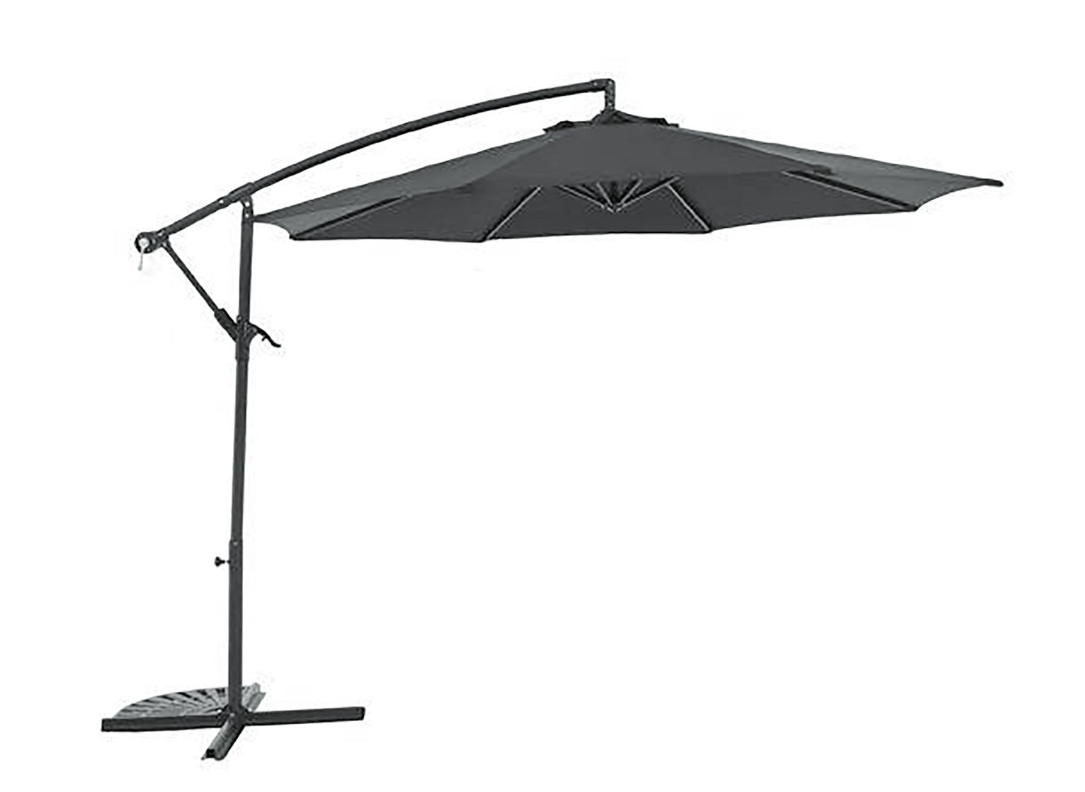 Argos Home Black Non-Rotating 2.5m Overhanging Parasol