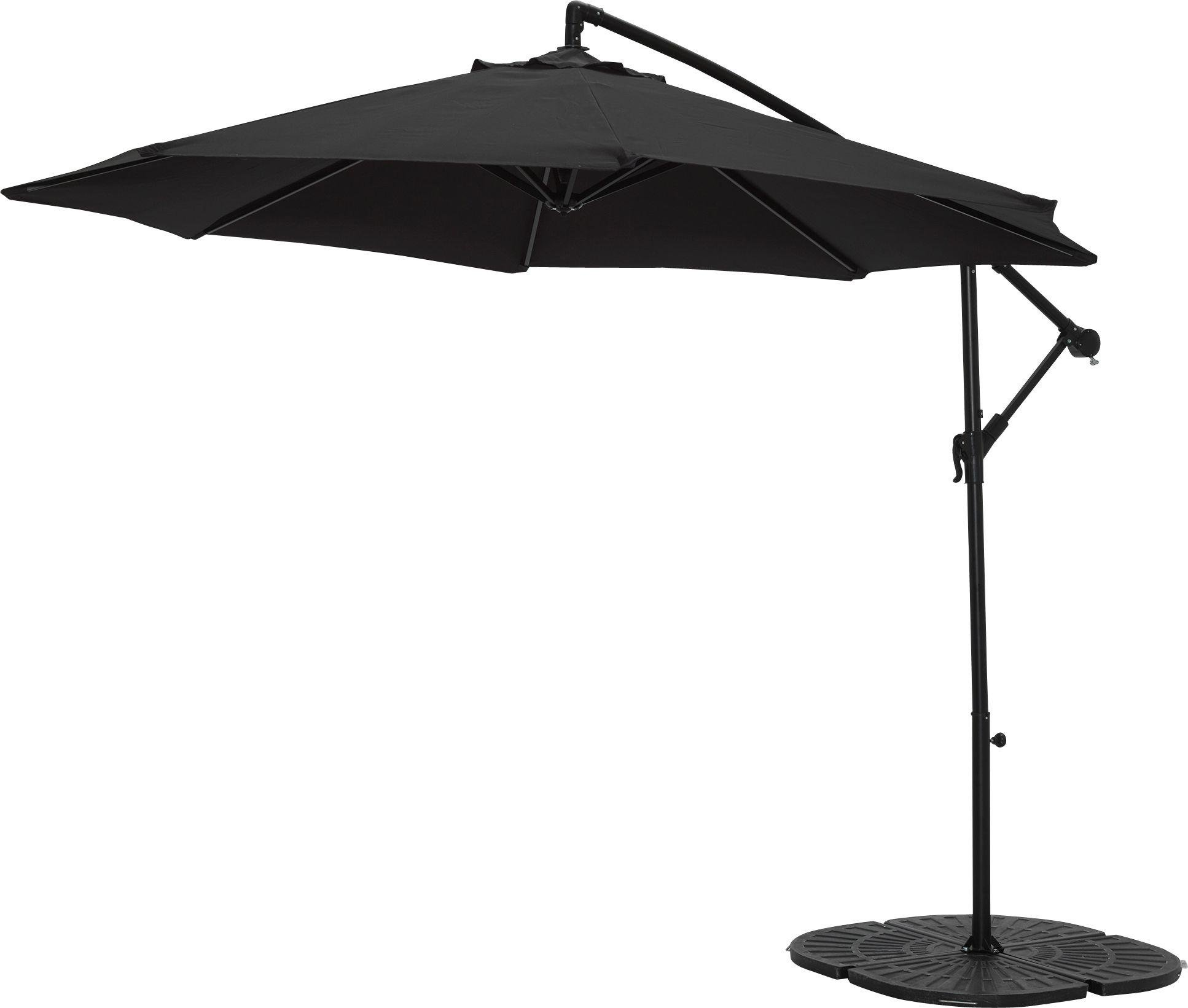 'Collection Black Non-rotating 2.5m Overhanging Parasol