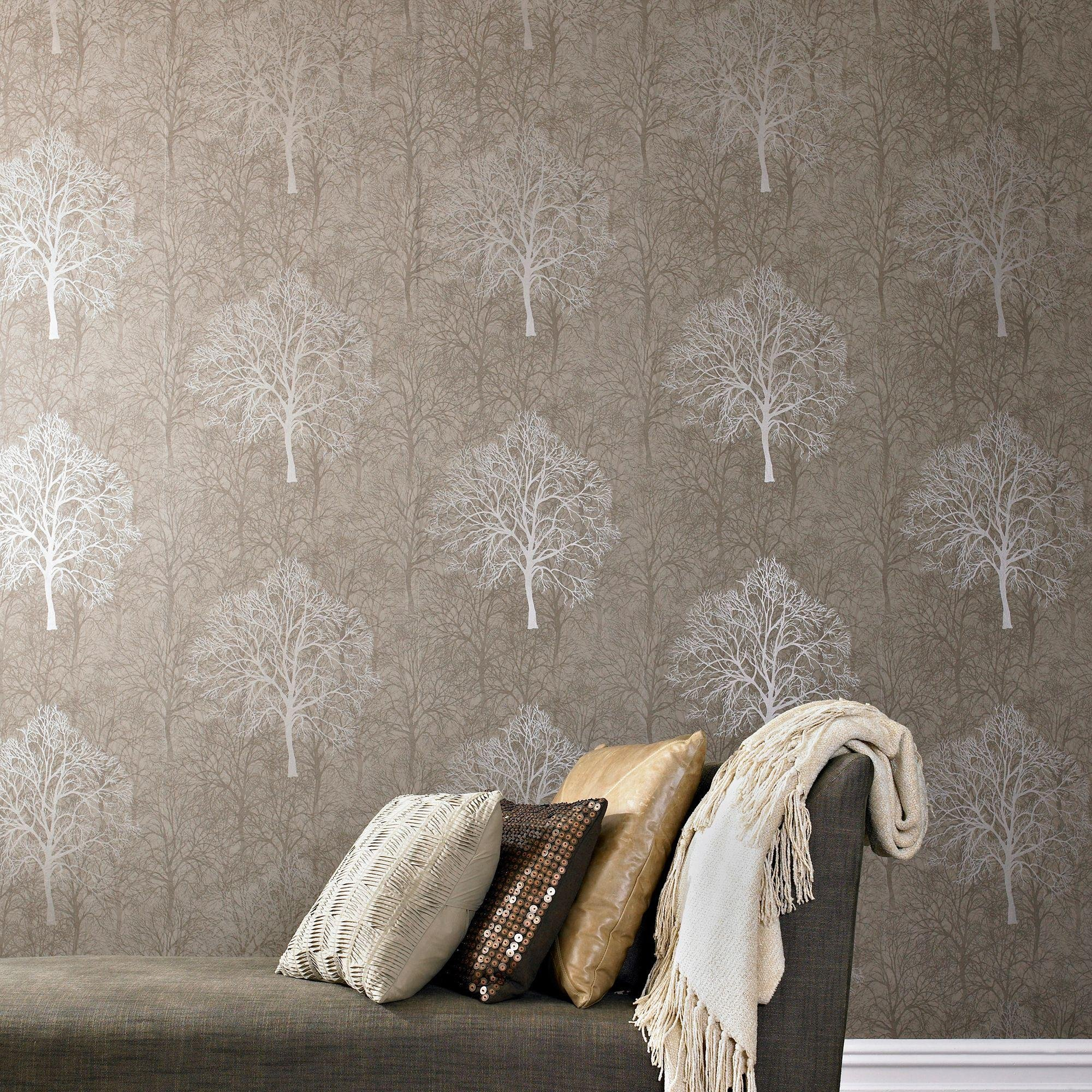 graham and brown enchant wallpaper sample  mocha.