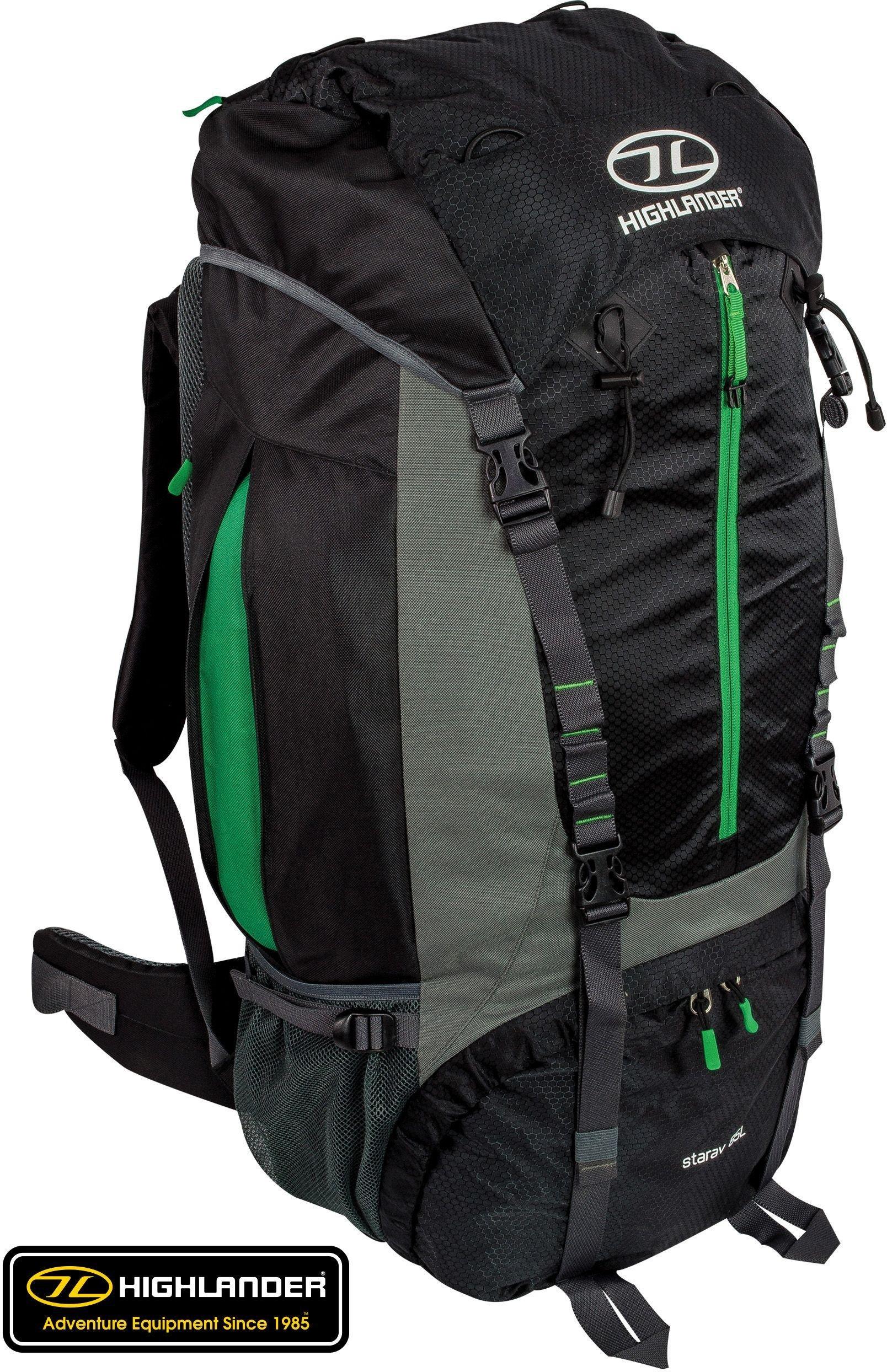 Highlander Starav 85L Rucksack - Black/Green