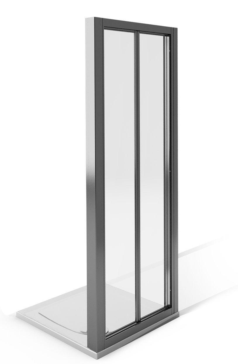 Image of AQUA 4 1850x800mm Bi-Fold Fully Framed Shower Screen - White