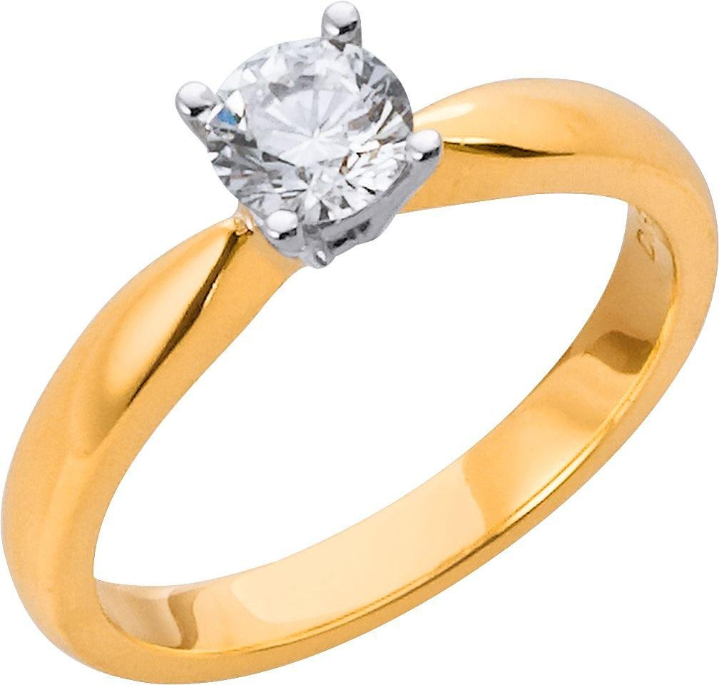 18 Carat Gold - 1/2 Carat Diamond - Solitaire Ring - Size T