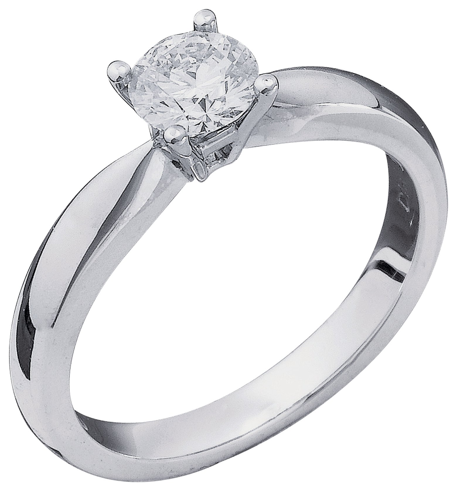 Everlasting Love 18 Carat W Gold 1/2ct Diamond Solitaire Ring - Size V