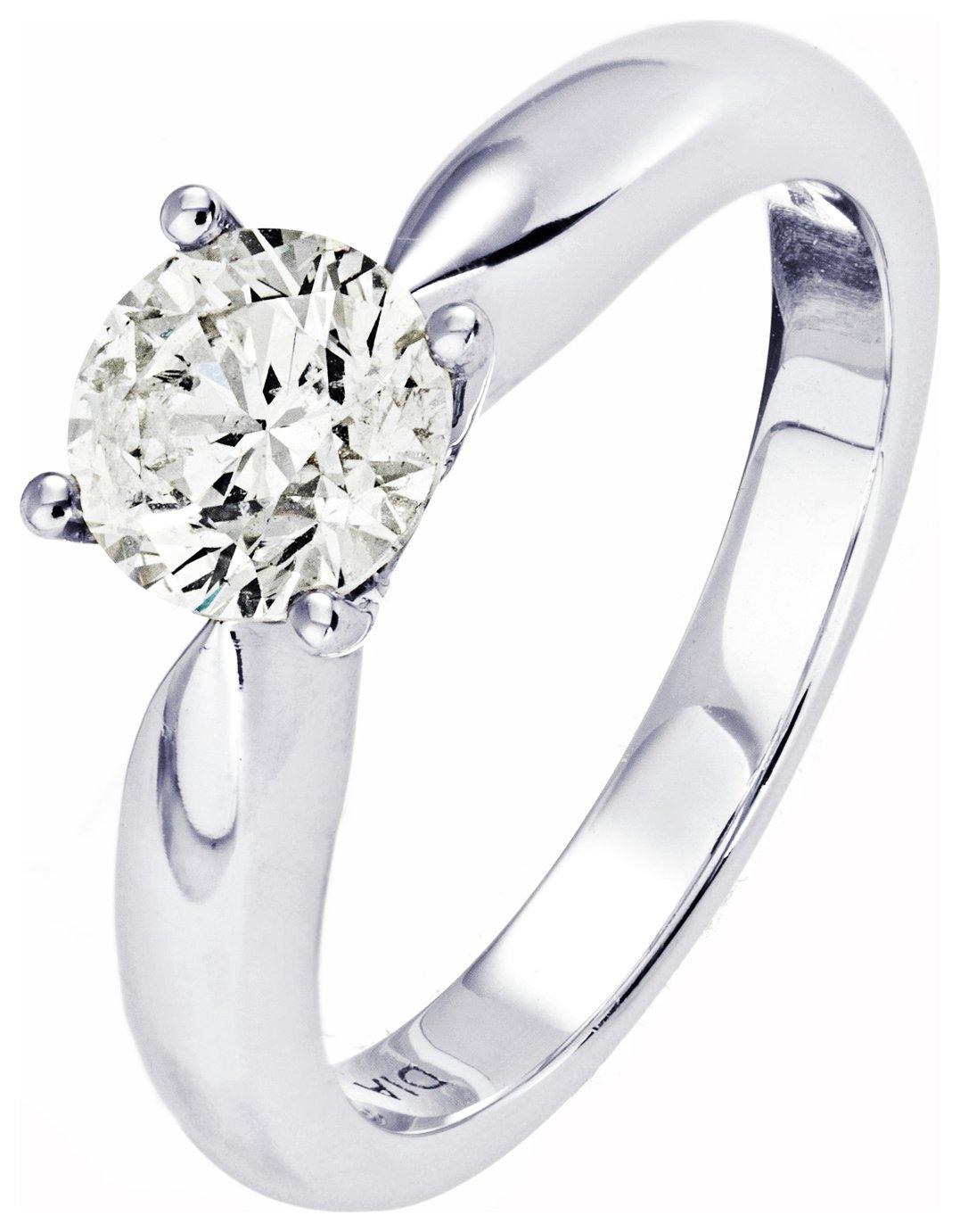 18 Carat White Gold 1 Carat Diamond - Solitaire Ring - Size J